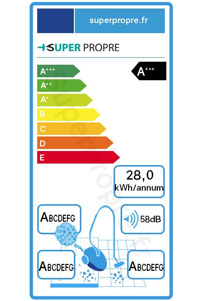 étiquette énergétique d'un aspirateur puissant